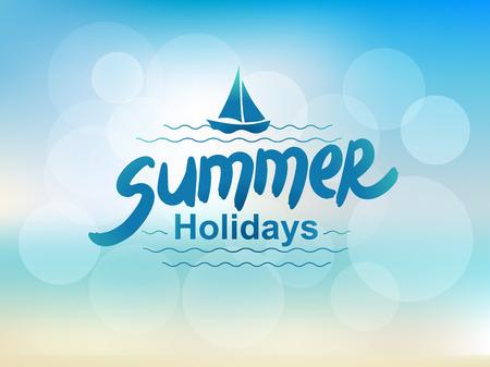 Ilustración de Summer holidays - typographic design. Hand drawn lettering elements. - Imagen libre de derechos