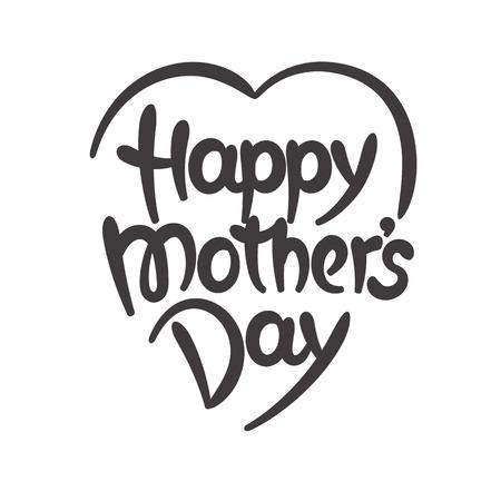 Illustration pour Happy mothers day hand-drawn lettering - image libre de droit