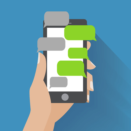 Illustration pour Hand holing black smartphone similar to iphon with blank speech bubbles for text.  - image libre de droit