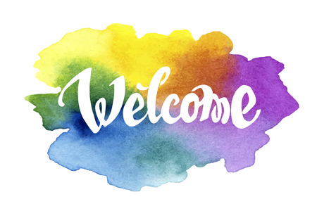 Illustration pour Welcome hand drawn lettering against watercolor background - image libre de droit
