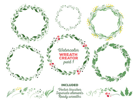 Illustration pour Vector watercolor wreaths and separate floral elements for custom wreaths creation. Ready-to-use illustrator brushes included. Great for wedding invitations, Mothers day cards, page decoration. - image libre de droit