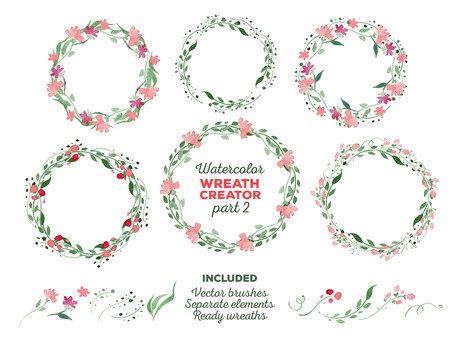 Ilustración de Vector watercolor wreaths and separate floral elements for custom wreaths creation. Ready-to-use illustrator brushes included. Great for wedding invitations, Mothers day cards, page decoration. - Imagen libre de derechos