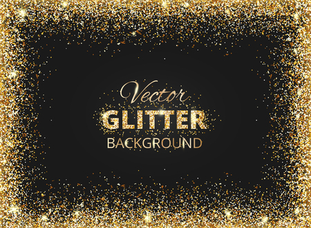 Illustration for Black and gold background with glitter frame and space for text. Vector glitter decoration, golden dust. Great for christmas and birthday cards, wedding invitation, party posters and flyers. - Royalty Free Image