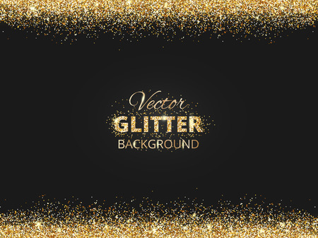 Illustration pour Black and gold background with glitter border and space for text. Vector glitter frame, golden dust. Great for christmas and birthday cards, wedding invitation, party posters and flyers. - image libre de droit