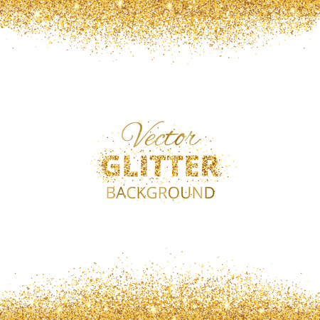Illustration for Background with glitter golden frame and space for text. Vector glitter decoration, golden dust. Great for christmas and birthday cards, wedding invitation, party posters and flyers. - Royalty Free Image