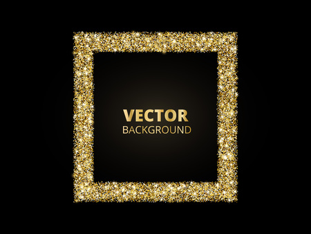 Illustration for Festive golden sparkle background. Glitter border, rectangle frame. Black and gold vector dust. Great for valentine, christmas and birthday cards, wedding invitations, party posters. - Royalty Free Image