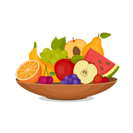 Illustration pour Fruits and berries icons in flat style  illustration. - image libre de droit
