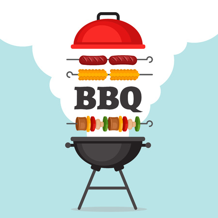 Illustration pour Bbq party background with grill and fire. Barbecue poster. Flat style, vector illustration. - image libre de droit
