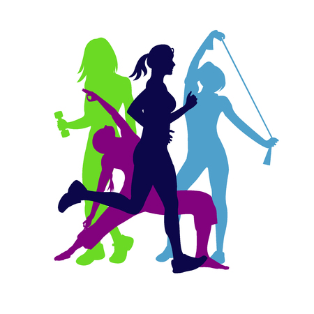 Illustration pour fitness emblem, woman silhouette, illustration - image libre de droit