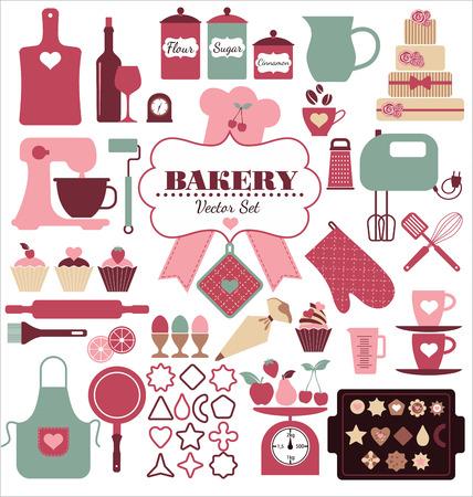 Illustration pour Bakery icons set. Vector elements for your design. - image libre de droit