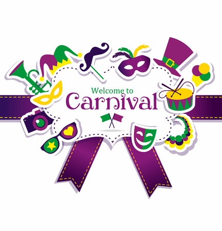 Illustration pour Bright vector carnival icons and sign Welcome to Carnival - image libre de droit