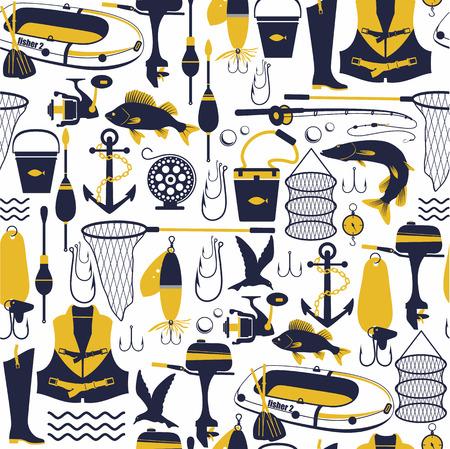 Illustration pour Fishing background. Seamless pattern. - image libre de droit