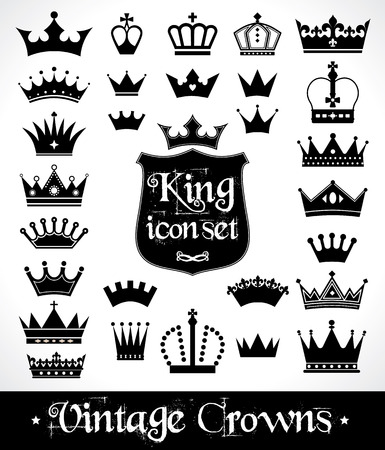 Illustration for Crowns set . Flat design. Vector illustration of icons. - Royalty Free Image