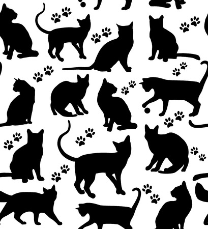 Illustrazione per Seamless pattern of animals. Cats pattern on white. - Immagini Royalty Free