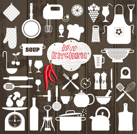 Illustration pour Kitchen icons set of tools on wooden texture. - image libre de droit