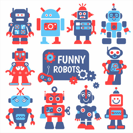 Illustration pour Funny robots set. 10 cheerful robots for design. - image libre de droit