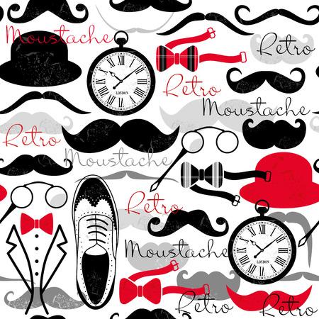 Illustration for Retro vintage seamless pattern. Retro design elements background. - Royalty Free Image