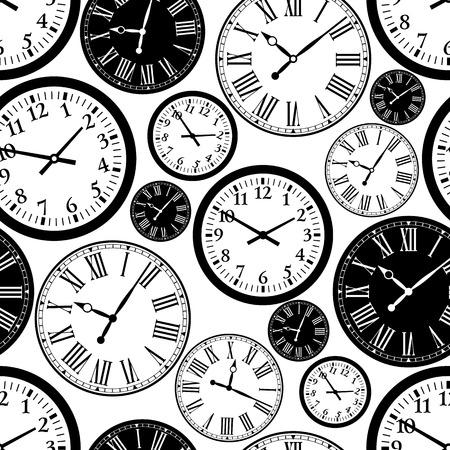 Illustrazione per Clock seamless pattern. black and white background. - Immagini Royalty Free