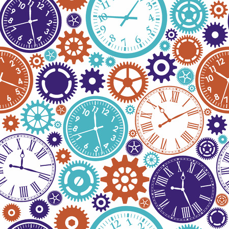 Illustration pour Clock`s seamless pattern. Color texture of time. - image libre de droit