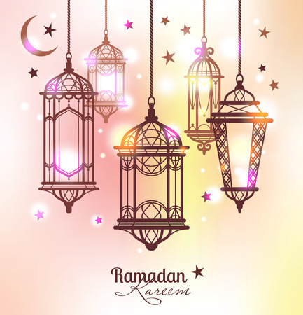 Illustration for Ramadan Kareem. Islamic background. lamps for Ramadan - Royalty Free Image