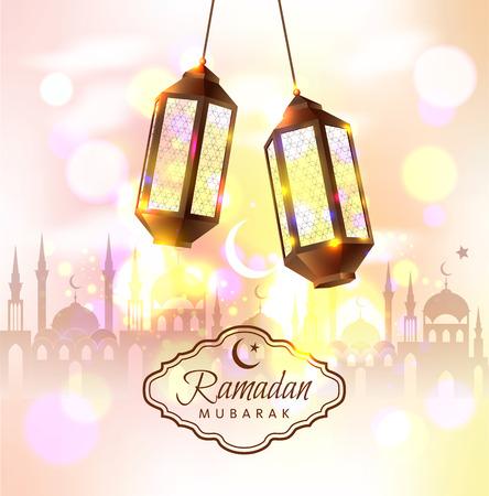 Illustration for Ramadan Mubarak vector illustration with 3d lamps. - Royalty Free Image