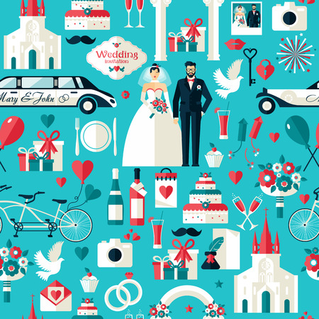 Photo pour Wedding symbols set. Flat icons for your wedding design.Seamless pattern. - image libre de droit