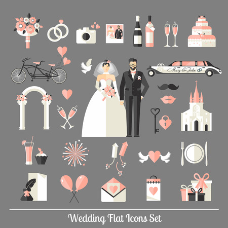 Illustration pour Wedding symbols set. Flat icons for your wedding design. - image libre de droit