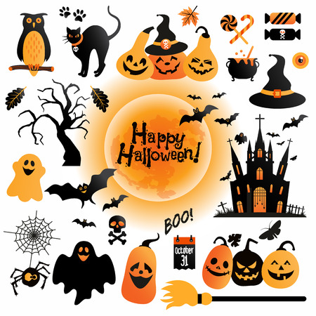 Illustrazione per Halloween icons set. Vector Design elements for a holiday. - Immagini Royalty Free