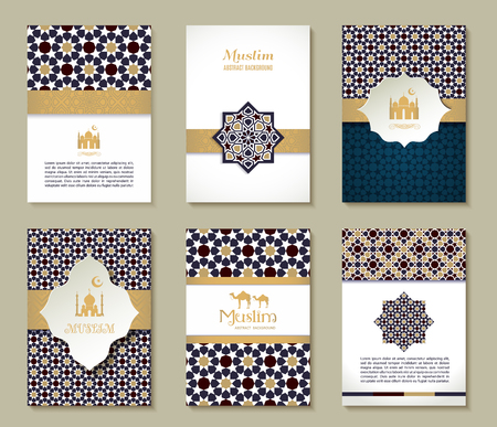 Illustration pour Banners set of ethnic design. Religion abstract set of layout with ornament. - image libre de droit