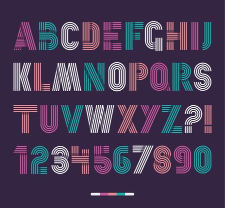 Ilustración de Retro stripes funky fonts set,trendy elegant retro style design. Vector design. - Imagen libre de derechos