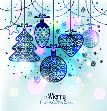 Illustration pour New Year's greeting card merry Christmas. Bright New Year's toys on a soft background with snowflakes. - image libre de droit