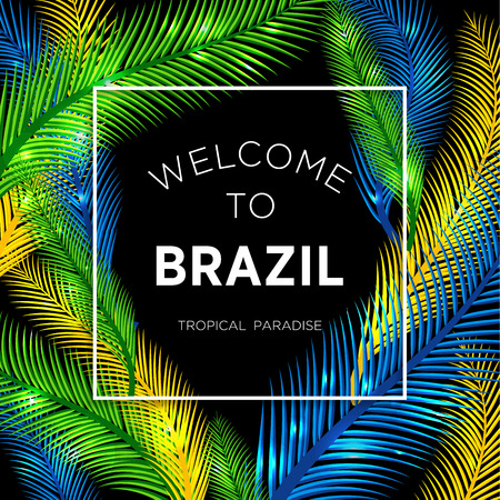 Illustration pour Welcome to Brazil! Vector illustration of color palm. - image libre de droit