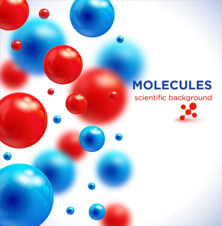 Illustration pour Blue and red molecules, vector background.3D molecule. - image libre de droit