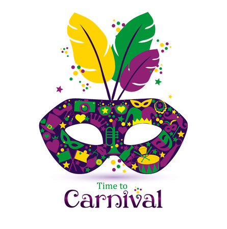 Illustration pour Bright vector carnival icons mask and sign Time to Carnival! - image libre de droit