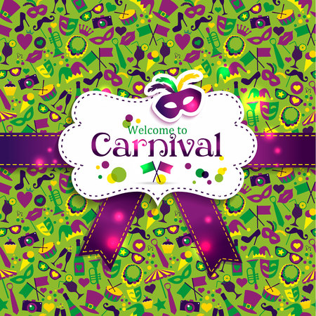 Illustration pour Bright vector carnival seamless texture and sign Welcome to Carnival - image libre de droit