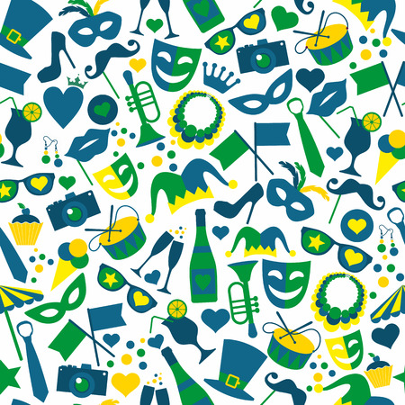 Illustration pour Bright vector carnival icons. Seamless pattern. - image libre de droit