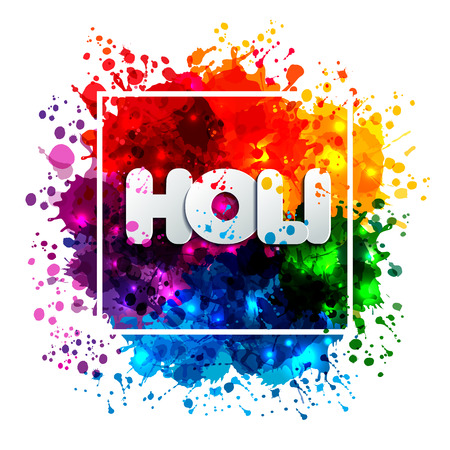 Ilustración de Holi spring festival of colors design element and sign holi. Can use for banners, invitations and greeting cards - Imagen libre de derechos