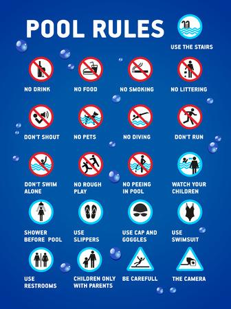 Ilustración de Swimming pool rules. Set of icons and symbol for pool. - Imagen libre de derechos