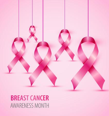 Ilustración de Breast cancer awareness concept illustration pink ribbon symbol. - Imagen libre de derechos