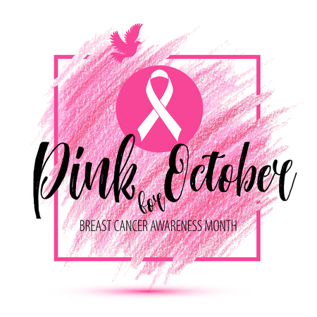 Illustration pour Breast Cancer Awareness Month Vector Ribbon imitation of hand drawn background - image libre de droit