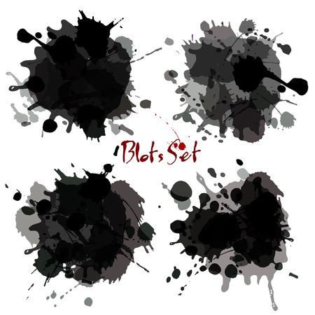 Illustrazione per Abstract set blots. Vector black grunge background - Immagini Royalty Free