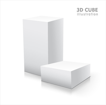 Illustration pour Two 3D cubes isolated on white background - image libre de droit