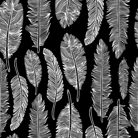 Illustration pour Seamless pattern of feathers .Vector illustration of tribal style. - image libre de droit
