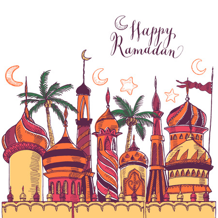 Illustration pour Ramadan greeting illustration with of mosque. Multicolor seamless background. Ramadan Kareem. Creative design concept for muslim holiday. - image libre de droit