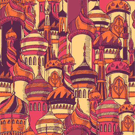 Illustration for Pattern with silhouette of mosque - Royalty Free Image