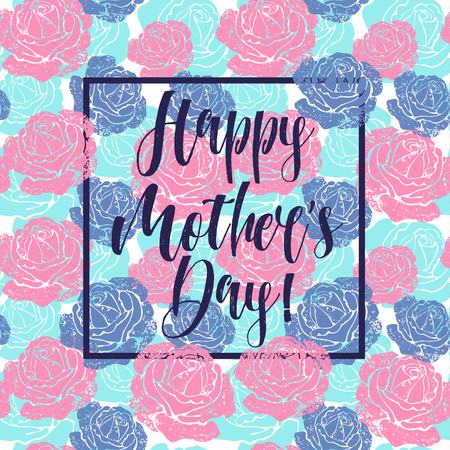 Illustration for Mother s day greeting card with flowers background - Royalty Free Image
