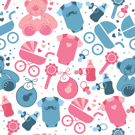 Illustration for Baby clothes and toys seamless pattern for world childrens day. - Royalty Free Image