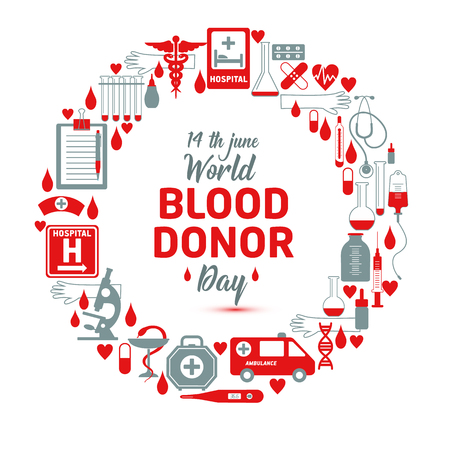 Illustration for Vector illustration of Donate blood concept for World blood donor day-June 14. - Royalty Free Image