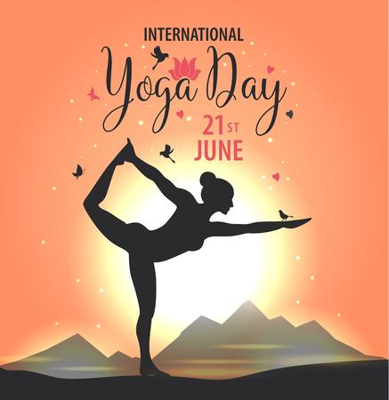 Illustration pour World Yoga Day vector illustration, sunset background - image libre de droit