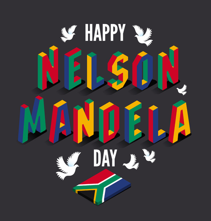Illustration pour Vector illustration for happy International Nelson Mandela Day. - image libre de droit